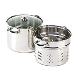 Koehler Home Utility Multipurpose 8-quart Stainless Steel Glass Lid Kitchen Pasta Cooker Set