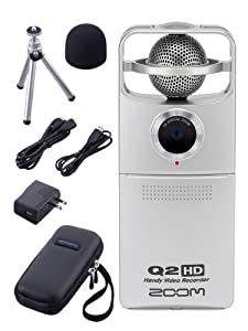 Zoom Q2HD Handy Video Recorder with Case, Mini Tripod, USB Cable, HDMI Cable, AC Adapter, and Windscreen Bundle