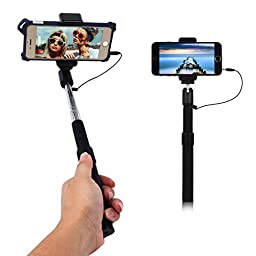 Arrela® Selfie Stick Wired Portable Foldable Self-portrait Monopod with Remote Shutter for iPhone 6/6s/6plus Samsung Galaxy S6/Note Edge Vivo Sony iOS Android Black