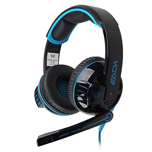 Doinshop New Hot Stereo Gaming Headphone Headset With Mic Led Light For Pc Gamer (Blue+Black)