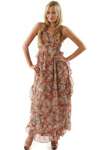 House Of Dereon Dress Pink Butterfly Print Ruffle