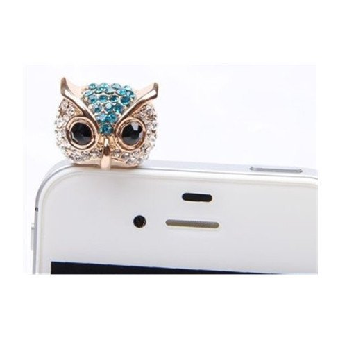 Poposh 3D 1X Cute Rhinestone Night Owl Crystal Anti Dust Plug Bling Earphone Jack Glitter Diamond Headphone Port Stopper Caps Headset