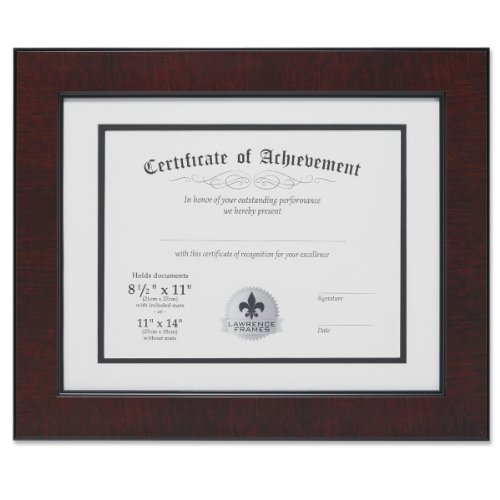 Lawrence Frames Dual Use Faux Burl 11 by 14-Inch Certificate Picture Frame with Double Bevel Cut Matting for 8.5 by 11-Inch Document, Mahogany (Matting Frame compare prices)