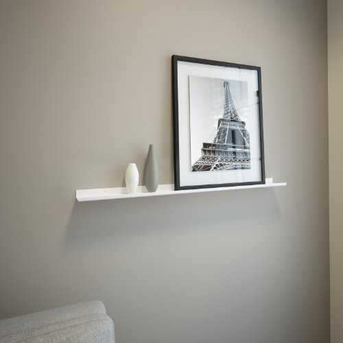 White Powder Coated Carbon Steel Floating Ledge for Frames, Photos and Pictures, Extra Deep 3.5