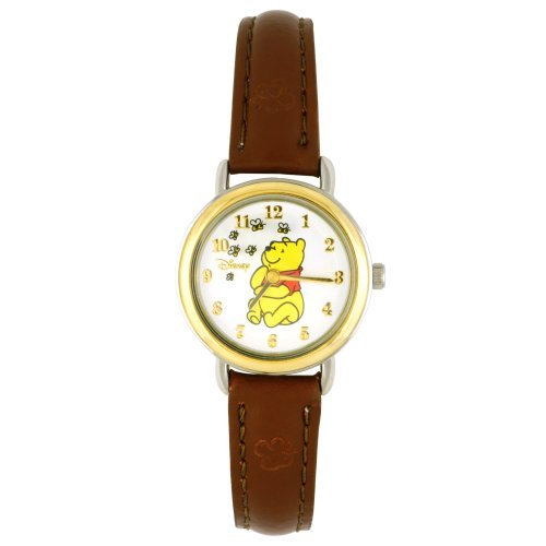 Disney Girl's Winnie the Pooh and Honey Bees Brown Leather Band Watch WTP055