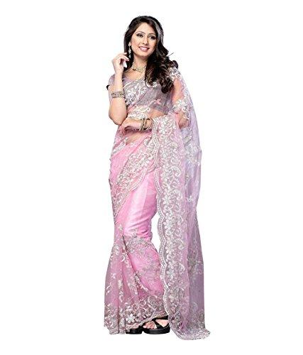 Miss Charming Net Zari Saree (AJ14_Pink)