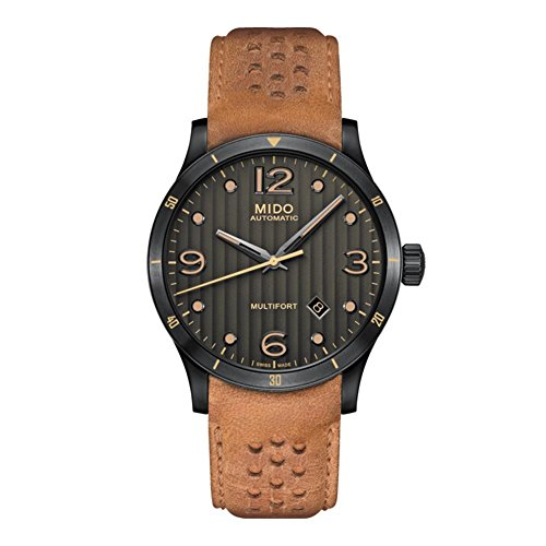 mido-mens-multifort-42mm-brown-leather-band-ip-steel-case-automatic-black-dial-watch-m0254073606110