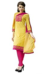Kvsfab Yellow & Pink Pure Cotton un-stitched dress material KVSSK14PRMK