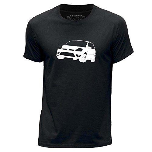 STUFF4 Uomo/Medio (M)/Nero/Girocollo T-Shirt/Stampino Auto Arte / 05 Fiesta ST