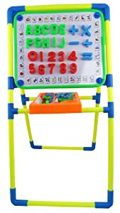 """24"""" Double Sided Standing Easel Learning Board for Kids with Magnetic Alphabet Letters and Numbers"""