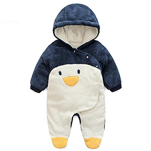 Fairy Baby Baby Boy Girl Winter Flannel Bunting Outfits Romper Outwear,6-12M,Penguin