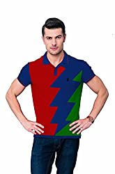 League Men's Collar T- Shirt (F_502_X-Large_Red)