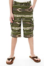 Pure Cotton Adjustable Waist Aztec Print Cargo Shorts