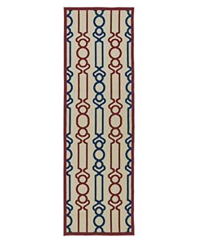 "Kaleen Five Seasons Indoor/Outdoor Rug, Red, 2' 6"" x 7' 10"" Runner"