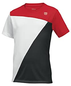 Wilson Touch Win Boys' Tennis Shirt Crew  Neck red/white/black Size:L