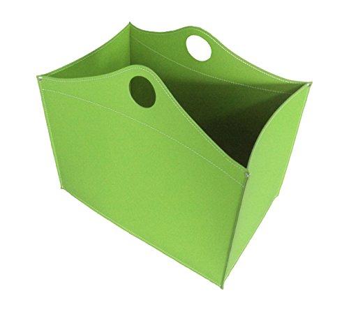 WOODBAG: borsa in cuoio portalegna e/o pellet, in cuoio rigenerato colore Verde Oliva, con ruote gommate.