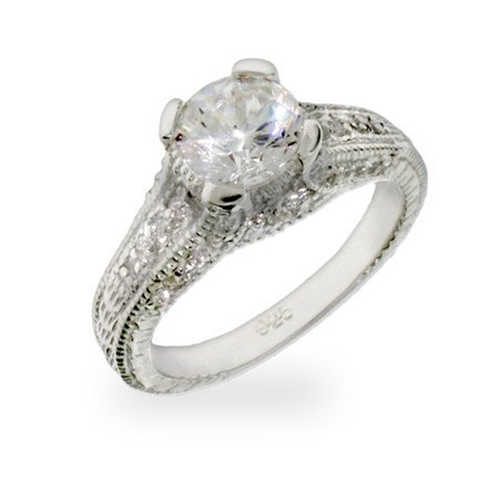 Vintage Style Brilliant Cut CZ Engagement Ring Size 6 (Sizes 5 6 7 8 9 Available)