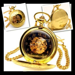 Personalised Half Hunter Gold Plated Skeleton Pocket Watch (Engraved Free)