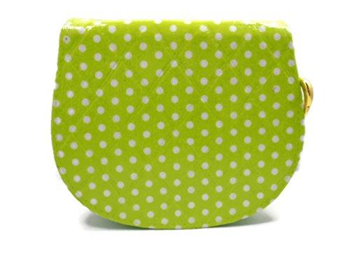 Lemon Polka Dot - Woman Mini Zip Wallet Clutch Purse - Gold Heart And Green Interior