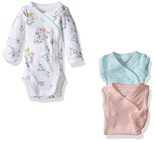 Carter's Baby Girls' 3 Pack Side Snap Bodysuits (Baby) - Floral - 9M