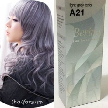 BERINA PERMANENT HAIR DYE COLOR CREAM #A21 Light Grey COOL HOT CREZY FASHIONS