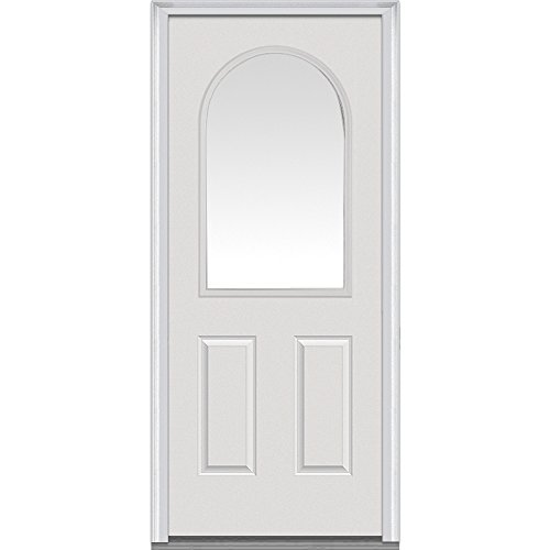 National Door Company Z000522L Smooth Fiberglass Prehung Left Hand Inswing Entry Door, Round Top, 1/2 Lite, 2-Panel, Clear Glass, 32