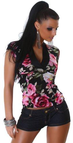 Jela London Damen Blusen-Top mit Blumen-Muster, verschiedene Farben