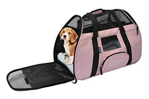 KritterWorld Portable Comfort Soft Sided Airline Approved Pet Travel Carrier Bag for Dog/Cat Small Animals Tote w/ Built-in Collar Buckle & Removable Fleece Bed – Pink
