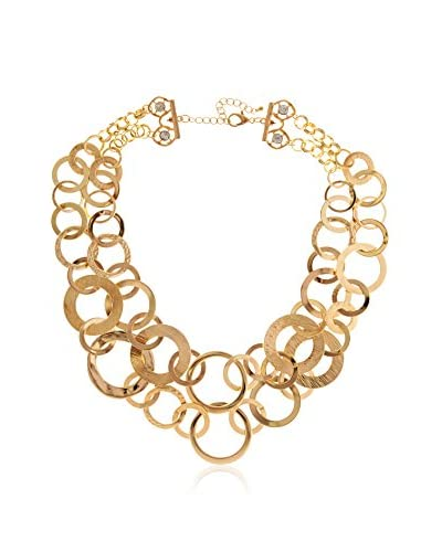 "Daniela Swaebe 18K Yg Plated ""Brushed Bubbles"" Statement Necklace"