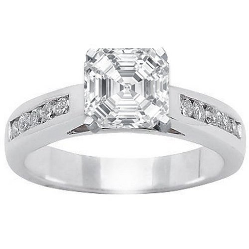 For sale 1.07 Carat Asscher Cut / Shape GIA Certified 14K White Gold Classic Channel Set Diamond Engagement Ring ( I Color , SI2 Clarity )