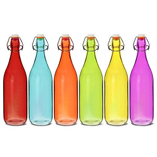 En Verre Coloré Swing Top bouteilles 1litre-lot de 6bouteilles-Rouge, bleu, orange, vert, jaune, violet
