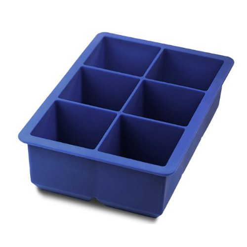 Foxnovo® Novelty 6-Square Soft Silicone Ice Cube Tray Ice Maker Jelly Pudding Mould (Blue) front-368383