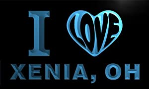 v63775-b I Love XENIA, OH OHIO City Limit Neon Light Sign