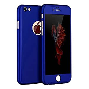 mobbysol™ Protective Slim Fit 360 Hybrid Body Cover Case with Tempered Glass for Apple iPhone(4.7) 6 / 6S (Dark blue)
