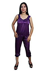 Indiatrendzs Women Sexy Night Suit Satin Purple 3pcs, Robe, Top & Capri Set