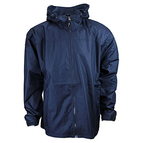 Men\'s i5 lightweight Hooded Windbreaker Jacket (Large, Navy)