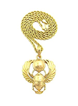 Polished Extended Wing Scarab Beetle Pendant w/ 24
