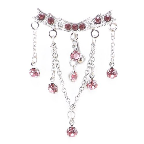 Pink Chandelier Top Down Crystal Dangle Belly Bar 14 Gauge = 1.6 x 10mm Length