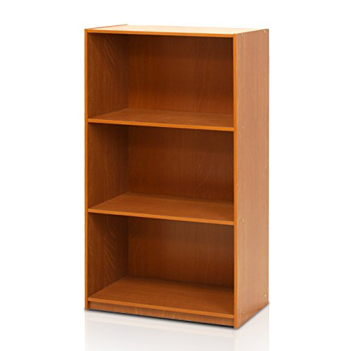 Furinno 99736LC Basic 3-Tier Bookcase Storage Shelves, Light Cherry (Glass Bookcase 3 Shelves compare prices)