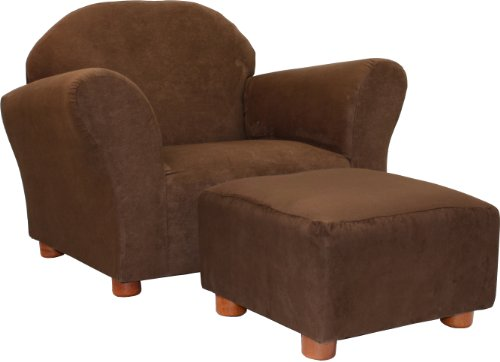 Fantasy Furniture Roundy Chair with Microsuede Ottoman, Brown