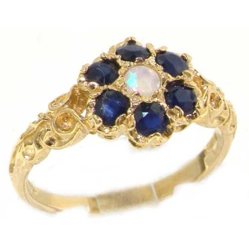 Victorian Ladies Solid 14K Yellow Gold Natural Fiery Opal & Sapphire Daisy Ring - Size 9.75 - Finger Sizes 5 to 12 Available - Perfect Gift for Birthday, Christmas, Valentines Day, Mothers Day, Mom, Mother, Grandmother, Daughter, Graduation, Bridesmaid.
