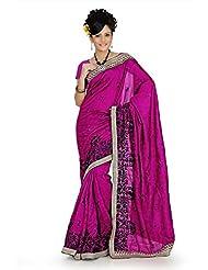 Designersareez Women Bhagalpuri Silk Embroidered Deep Magenta Saree With Unstitched Blouse(653)