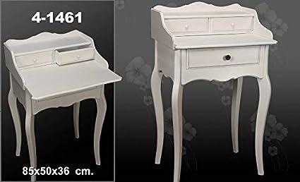 DonRegaloWeb - Escritorio de madera estilo clásico con 2 cajones y bandeja decorada en color blanco decape.
