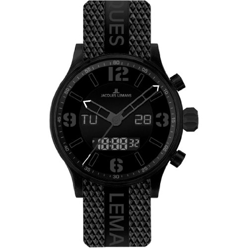 Jacques Lemans Milano 1-1716C 50mm Stainless Steel Case Silicone Mineral Men's Watch