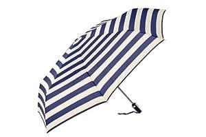 TECOOL® 38-inch Auto Open Stainless steel Umbrella Handle Petty with Stripe Design Anti-UV Sun Umbrella, Rain Umbrella,Triple Folding UV Protected Parasol (White)