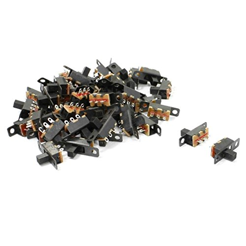 Uxcell a13042200ux0676 6 Solder Lug Pin ON/OFF 2 Position Panel Mount Slide Switch, 50 Piece (Spdt Slide Switch compare prices)