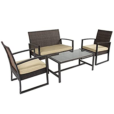 Best Choice Products 4pc Patio Furniture Set Cushioned Outdoor Wicker Rattan Garden Lawn Sofa Seat