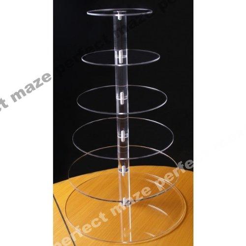 Perfectmaze 6 Tier Round Wedding Acrylic Cupcake Stand Tree Tower Cup Cake Display