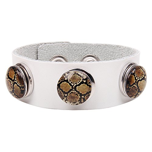 Modern Fantasy Fashion Multi-Colored Haggard Leopard Pattern Metal Buttons Leather Wrap Bracelet (white)