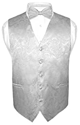 Men\'s Paisley Design Dress Vest & Bow Tie SILVER Grey Color BOWTie Set sz Medium